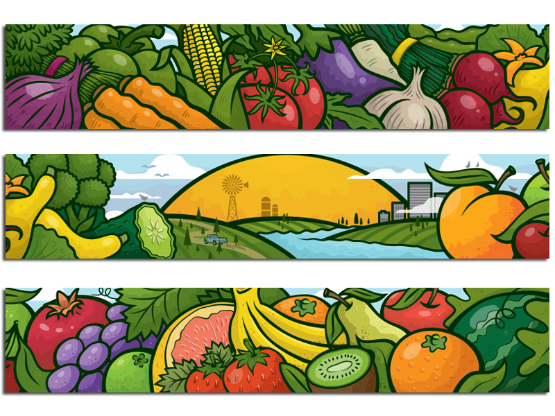 Here is the whole mural in three panels.