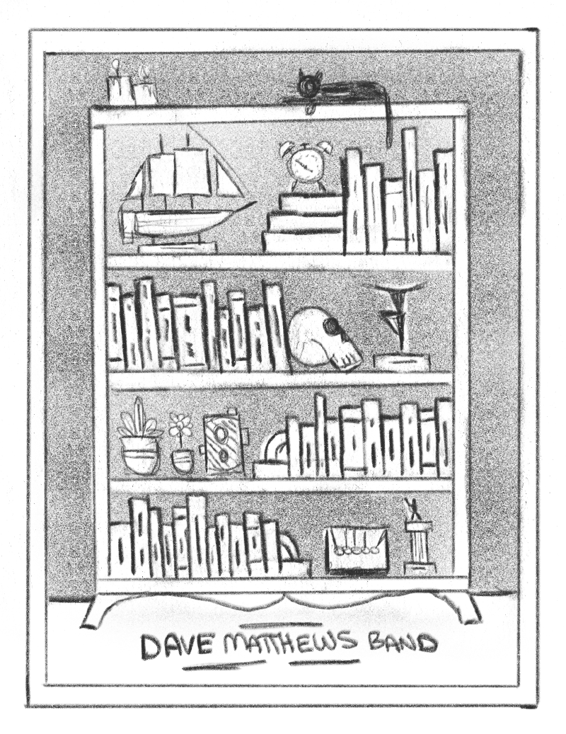 The idea here is to display all of the dates on a bookshelf / curio cabinet. The spines of the books would have all of the show dates on them in place of the titles. The rest of the shelf could be full of a variety of visually interesting objects - maybe certain items that reference DMB songs. This direction would be executed in a bold, geometric style similar to the gumball print. Lots of opportunity here to add little hidden details and things like that.
