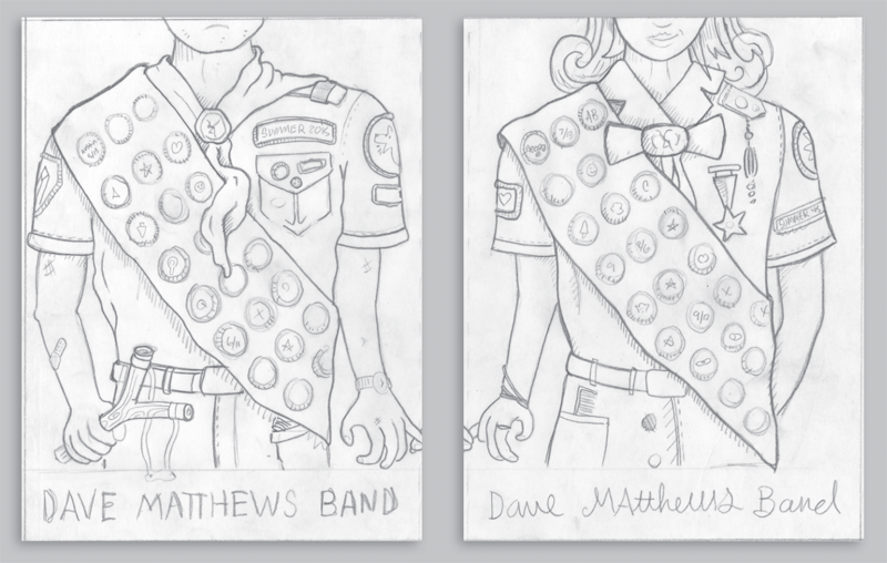 We sent this sketch last year as well, but still think its a cool concept and could translate really well to a tour poster. Kind of a vintage scouting theme (think moonrise kingdom by wes anderson). Each date gets its own faux-embroidered merit badge.