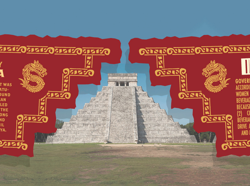 """4. This is the reason for the oddly shaped flaps. I wanted them to make the shape of a Mayan/Aztec pyramid (the one shown is at Chichén Itzá - from the video.) The pyramid shape is also depicted on the front above """"1005 Blue Agave)"""