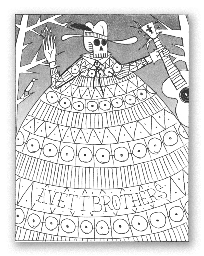 a french influenced cajun skeleton - the shirt patterns make up a large portion of the poster, giving this option a ton of potential for cool color combos and graphics.