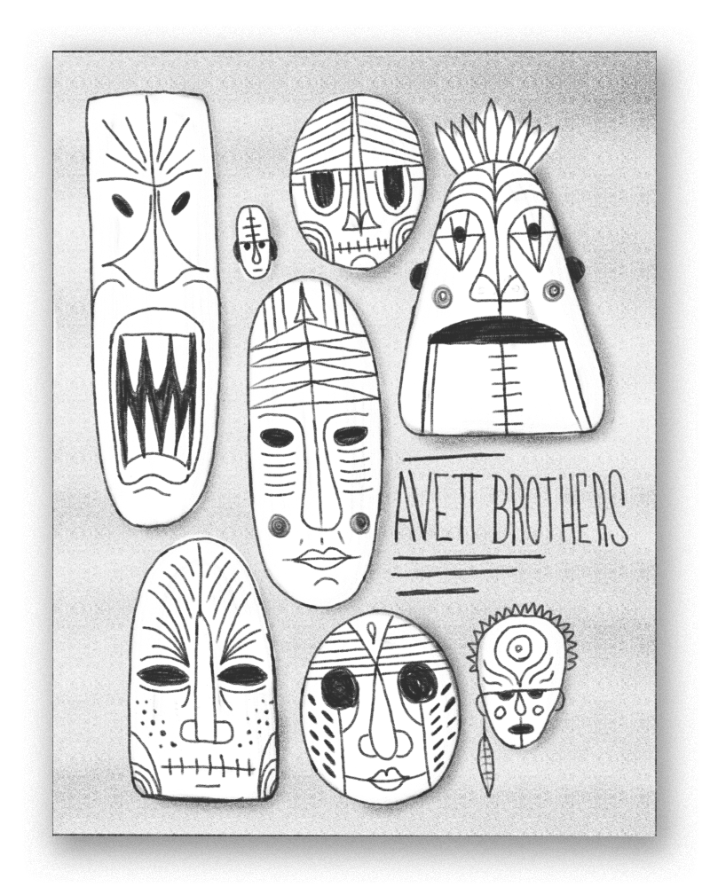 A collection of exotic masks all clustered together - could be really cool experimenting with different face shapes, patterns, colors, etc on this concept.