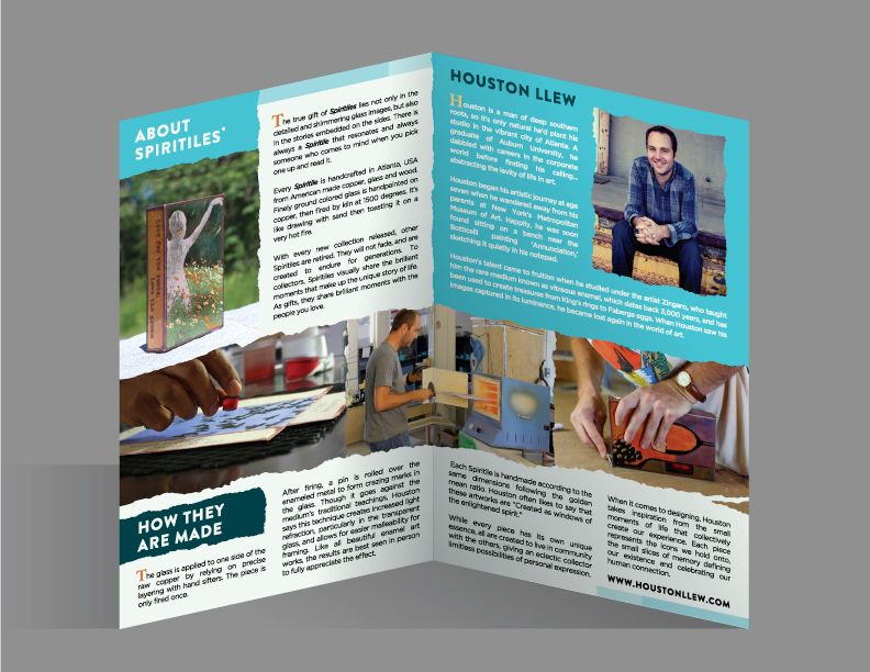 """2. Interior mock up. Switched out the Spiritile image for one with a setting and more color. Rethought the """"how they are made"""" photo montage, reaching accross the pages helps the composition feel more dynamic and pleasing."""