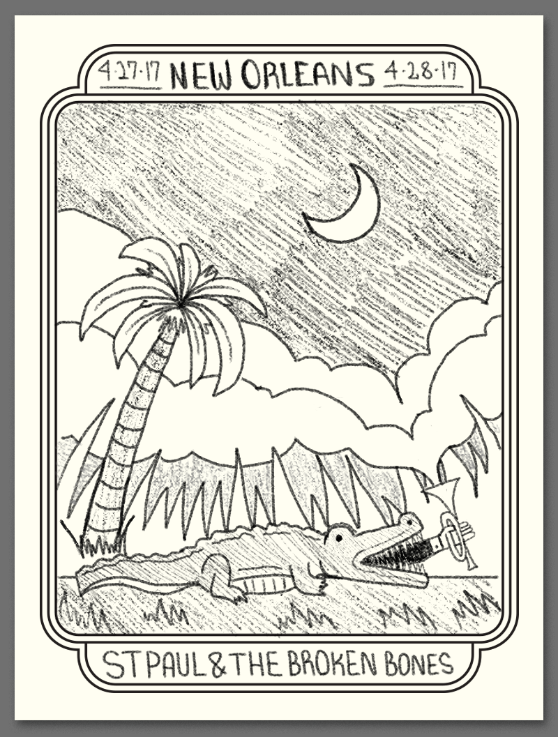 Another concept piggybacking off the above - what if the alligator ate the band? a single hand is reaching out of his mouth holding a brass instrument - for some added weirdness the clouds are coming out of the horn.