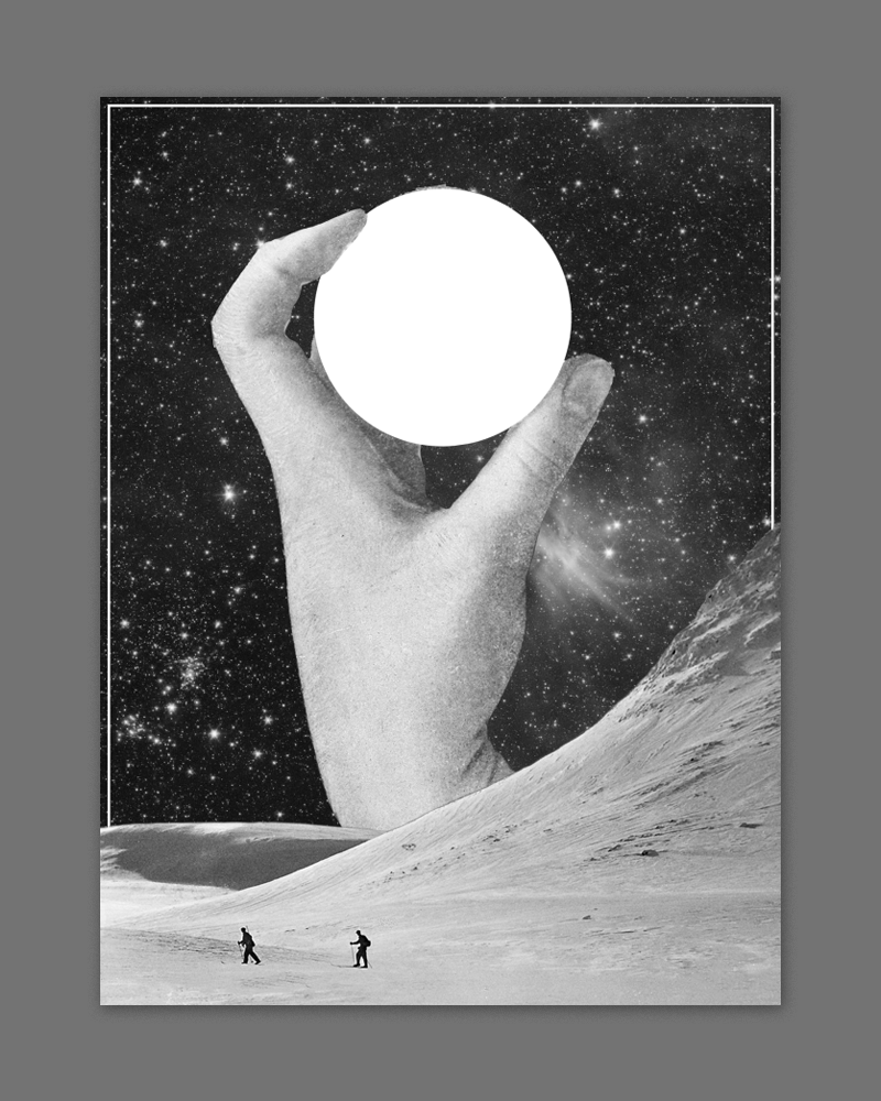 I threw this together really quickly while researching imagery for the monolith idea - just a cool kind of surrealistic collage. The bands name could go in the white circle and the dates could be lined up in the bottom right. It could be cool to mess with adding some abstract geometric shapes into this image.