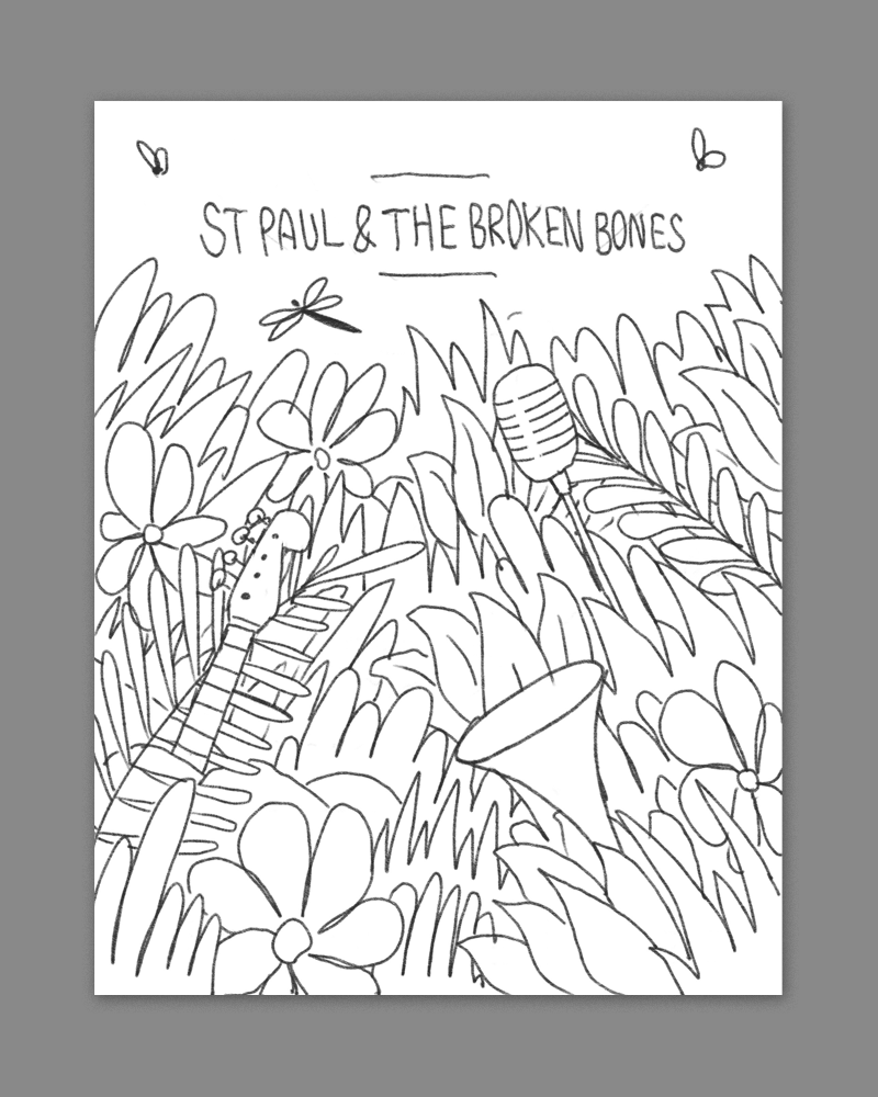 a dense nature scene with various st paul instruments popping out - this would look awesome in some bright summery colors.