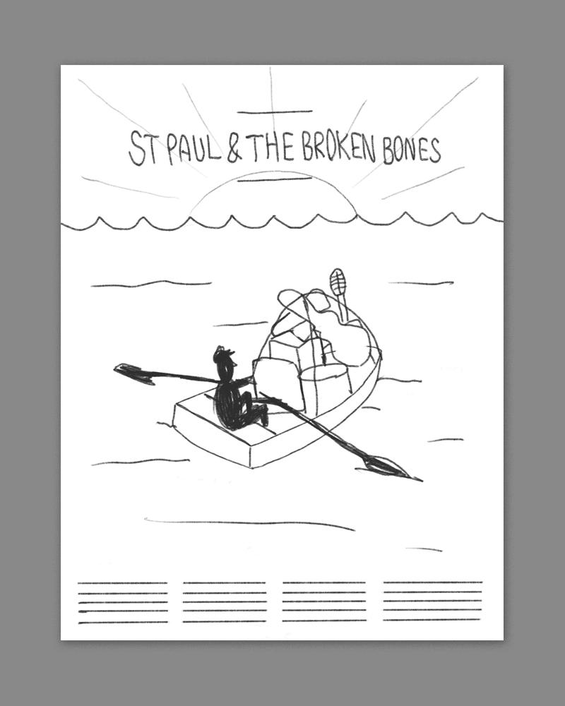 a loan oarsmen rowing a boat-load of music gear across the sea.