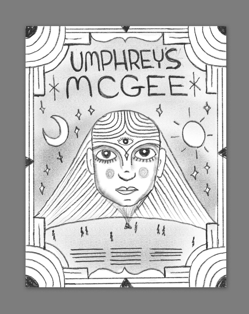 This idea is inspired by some of the spacier Parliament style aesthetics from the 70s - a sort of retro-futuristic galactic style with this giant three eyed hologram lady being projected into the sky from a mysterious planet below.