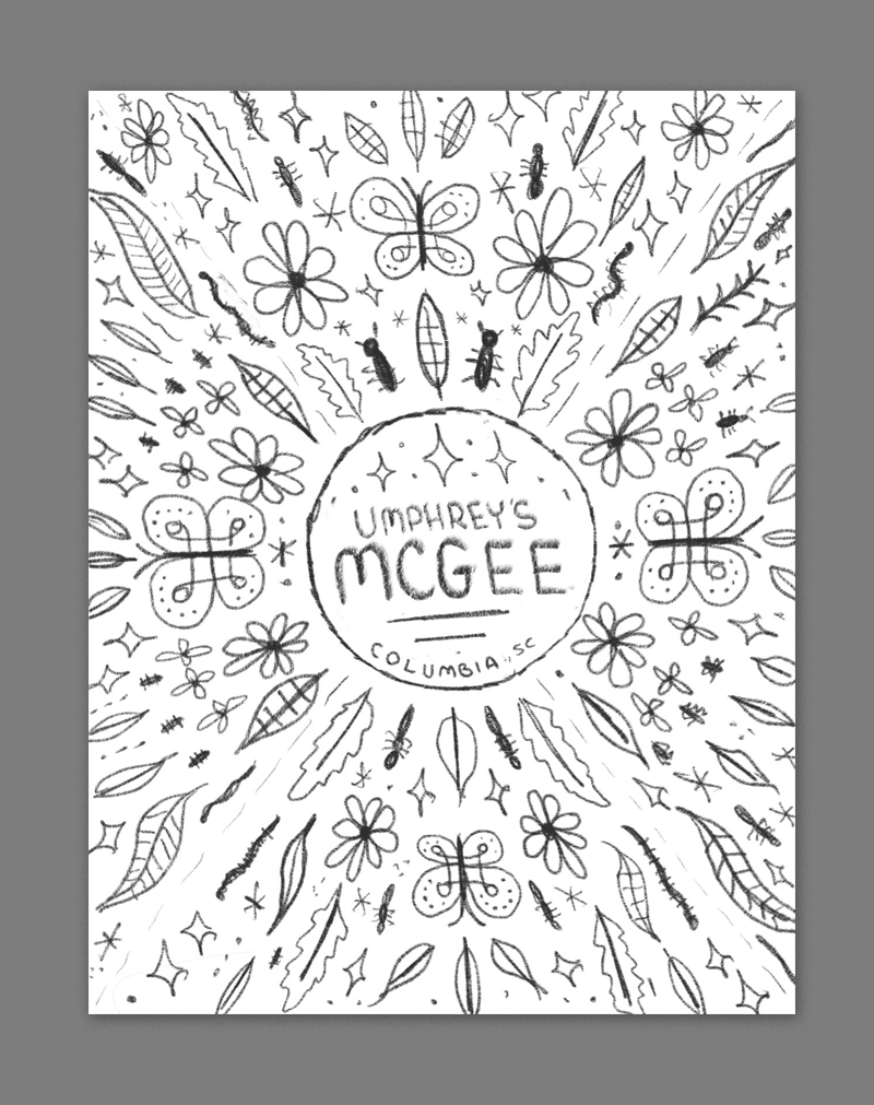 Summer in the south is full of nature and all kinds of critter - this would be a mandala inspired design with various insects, flowers, leaves, and other decorative elements emanating out from the band name in the center. This could look cool done in a more minimal, geometric style.