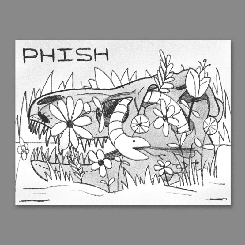 Pittsburgh is home to a large portion of the dinosaur fossils in the world - they even have a T-Rex skeleton in the airport there... The idea here is a t rex skull sitting in the dirt overgrown with psychadelic flora and fauna.