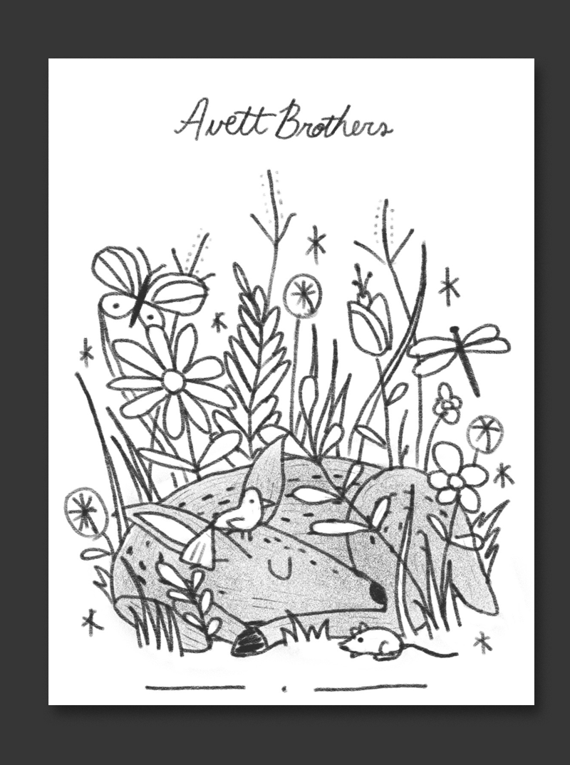 A sweet little baby deer sleeping in a thicket surrounded by various flora and fauna - this could be really cool illustrated in a vintage-inspired style.
