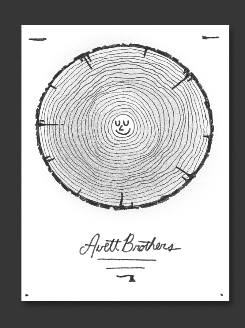 Bend started as a logging town so I thought it could be apt to pay tribute to that - this would be a cross section of a log with a cool little smiley face in the very center. Ideally the log section would be a halftone photograph with the little smiley dude drawn in.