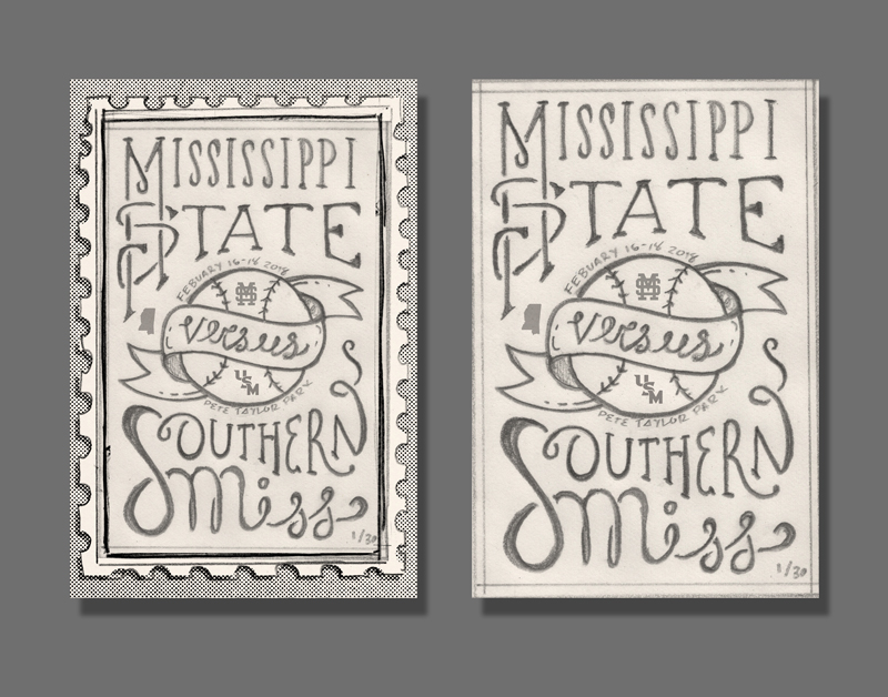 This vertical version displays the baseball more prominently but still has the vintage feel and would also use the handdrawn type.