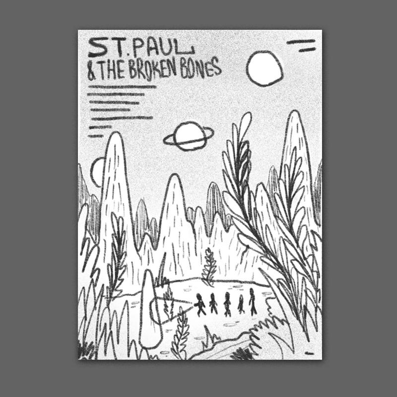 the band exploring a giant lush alien landscape