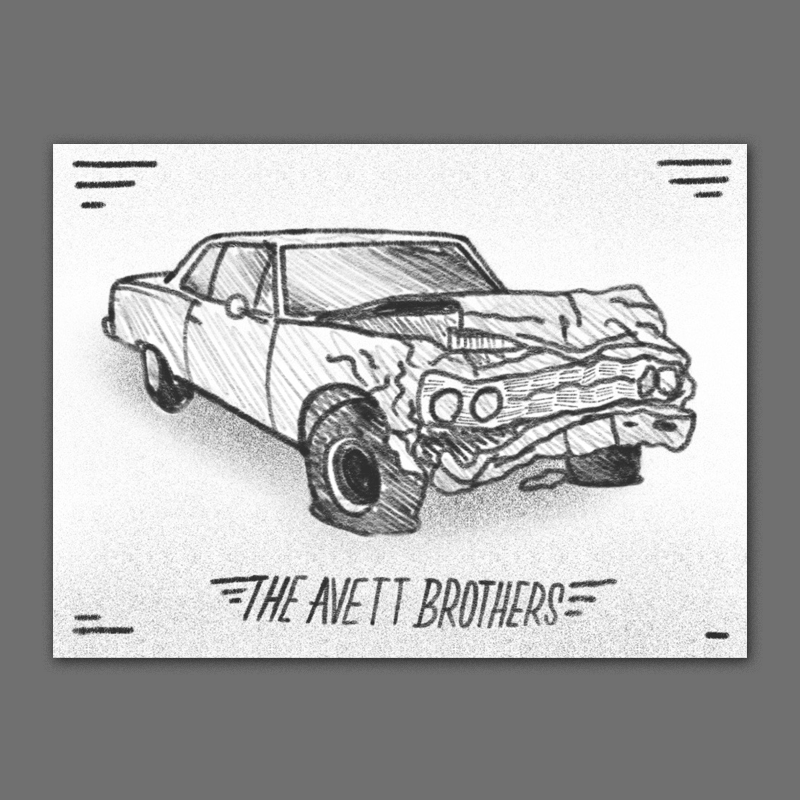 A big gnarly illustration of a smashed up old muscle car - kind of subverting the expectation of shiny new fast cars on rock posters. I think it could be cool to illustrate this in a looser hand-drawn pen & ink style.