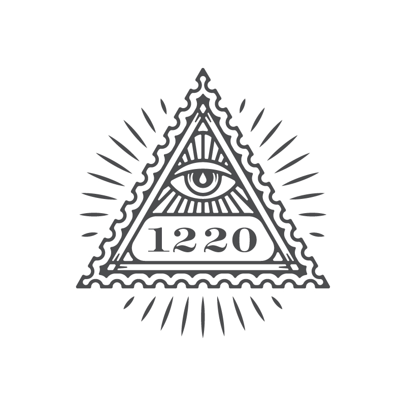 1b. I decided to digitize this one further since the sketch didn't quite convey the intended style. Here the type is a standard font, but I would see a custom type treatment for the 1220 so that it could even stand on its own and be easily recognized as your brand.