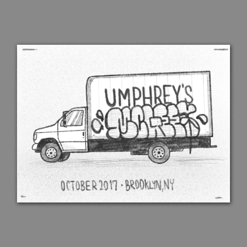 One thing that always come to mind when I think of brooklyn is all of the graffiti and the bombed delivery trucks driving around the borough. This would be a play on that - 'umphreys' would be drawn like its the logo or business name on the box truck, and 'mcgee' below in stylized graffiti bubble letters. I think this could work well just being the truck by itself, or it could be cool to introduce a little action and have a shadowy figure in the process of painting.