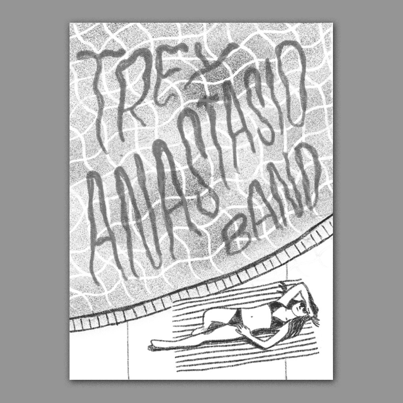 A more classic california approach - a birds eye view of a pool side sunbather with the band name worked into the texture of the water surface. I would like to illustrate this in a really graphic and minimal way with lots of suggested lines, negative space, and solid blocks of color.