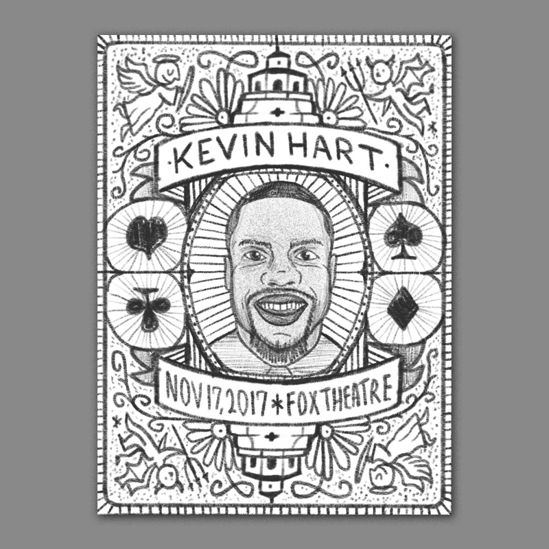 After reading what you wrote about him being an avid poker player I thought it could be cool to do something inspired by the  back design of playing cards . Kevin would be featured in the center surrounded by an intricate design featuring card suits, the architecture of the theater, and an angel and devil on either side. The angel and devil were inspired by the promo video for his tour where he is sitting in his bus and arguing with multiple versions of himself - it reminded me of the classic trope of an angel on one shoulder and a devil on the other. I think it could be really cool to print these with just one color (red or blue like the classic card deck) and maybe a hit of metallic ink to give it some flare!