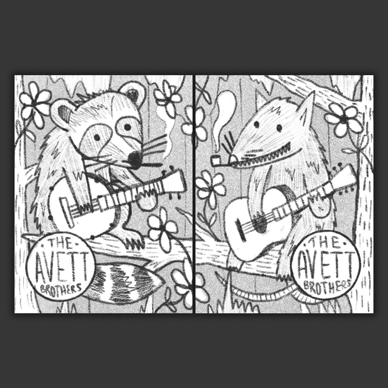 A raccoon and possum jamming out on a tree branch - I really like the idea of giving a little shine to the critters that some may consider a nuisance.
