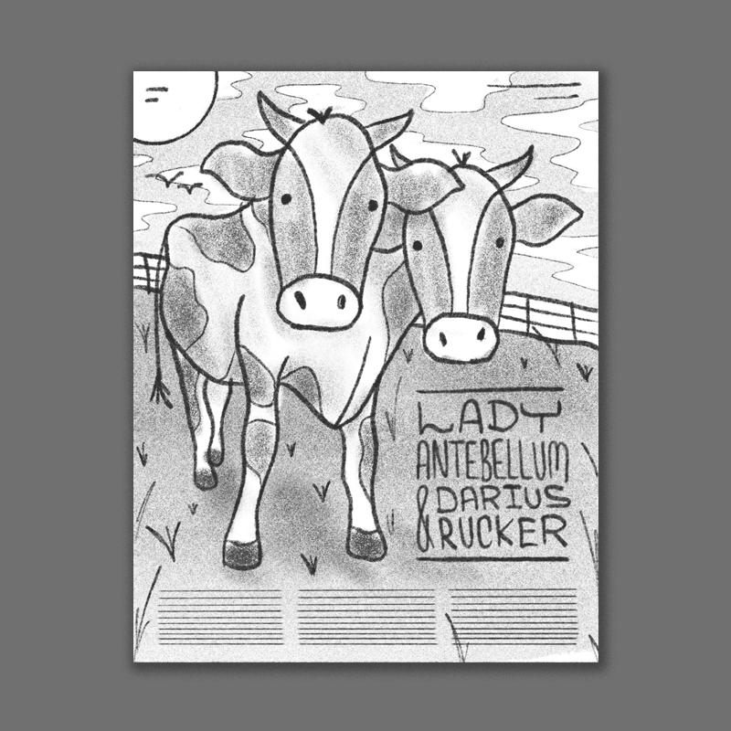 Since its a tour with 2 headliners I thought it could be cool to do a more tongue-in-cheek poster of a cow with two heads!