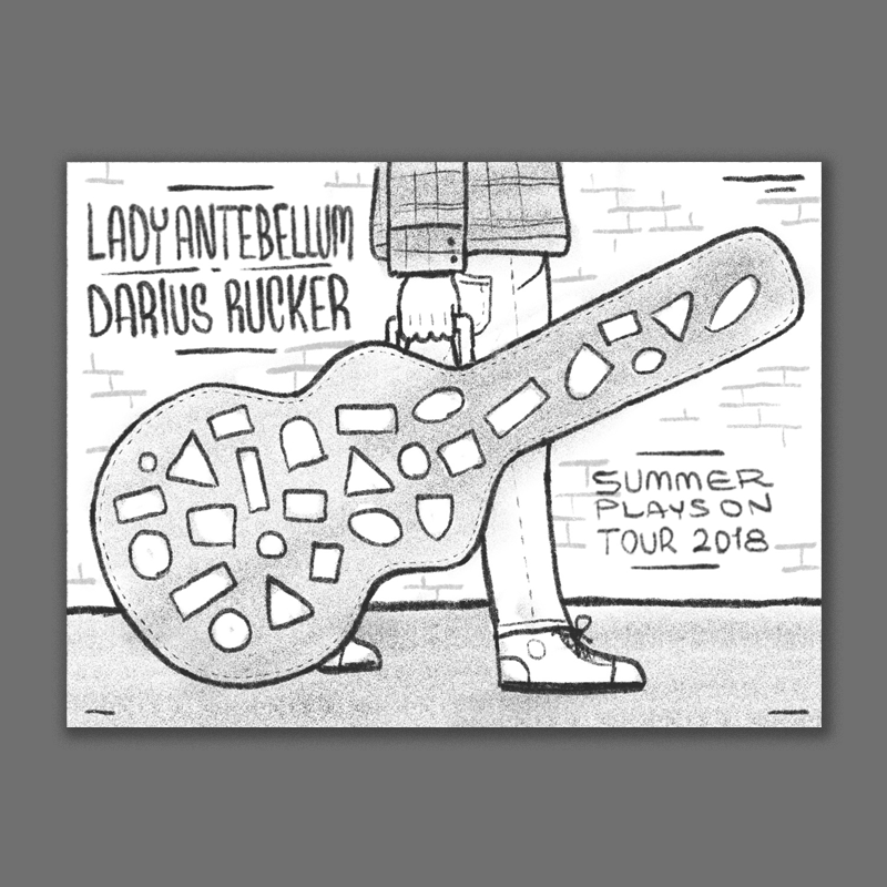 The guitar case would be covered in vintage inspired travel stickers - one for each date on the tour. The typography could look like an old sign painted on the brick wall in the back.