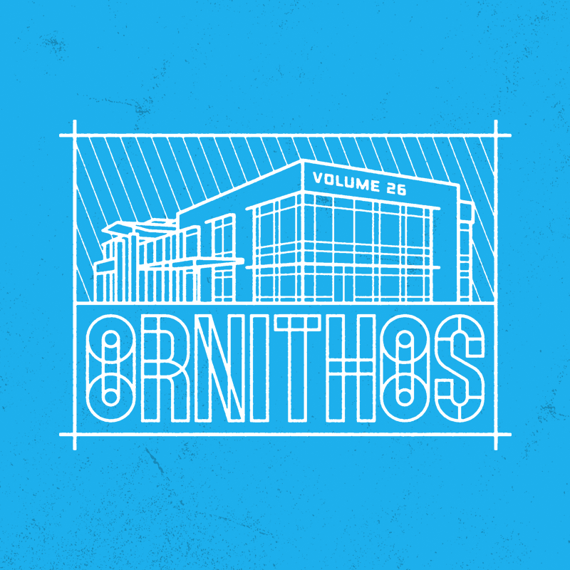 wordmark paired with simple blueprint style illustration of the innovation center.