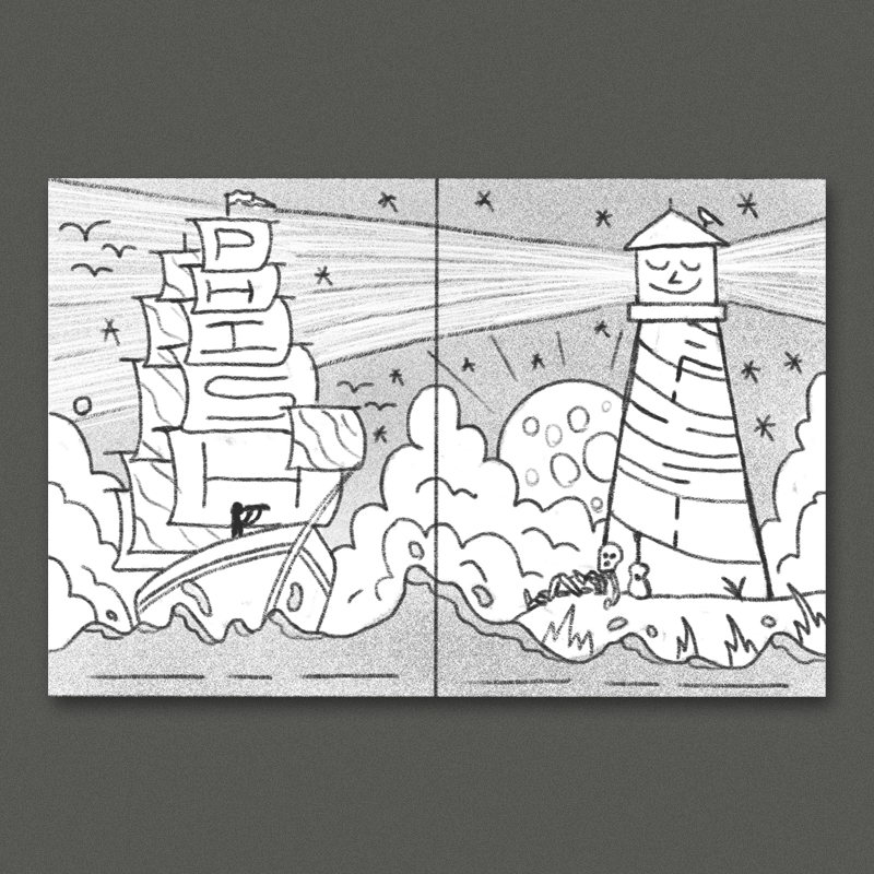 One panel has a tall ship with tons of brightly patterned sails navigating a swirling psychedelic sea. The right panel has an island with a phishy lighthouse, a skeleton-sailor is leaned up against it with his trusty guitar, guiding the ship into the harbor. This idea is inspired by Baltimore's inner harbor, which has the  USS Constellation  and a  weird little lighthous e in it. I think this direction could be really awesome with some bright, eye-catching colors.