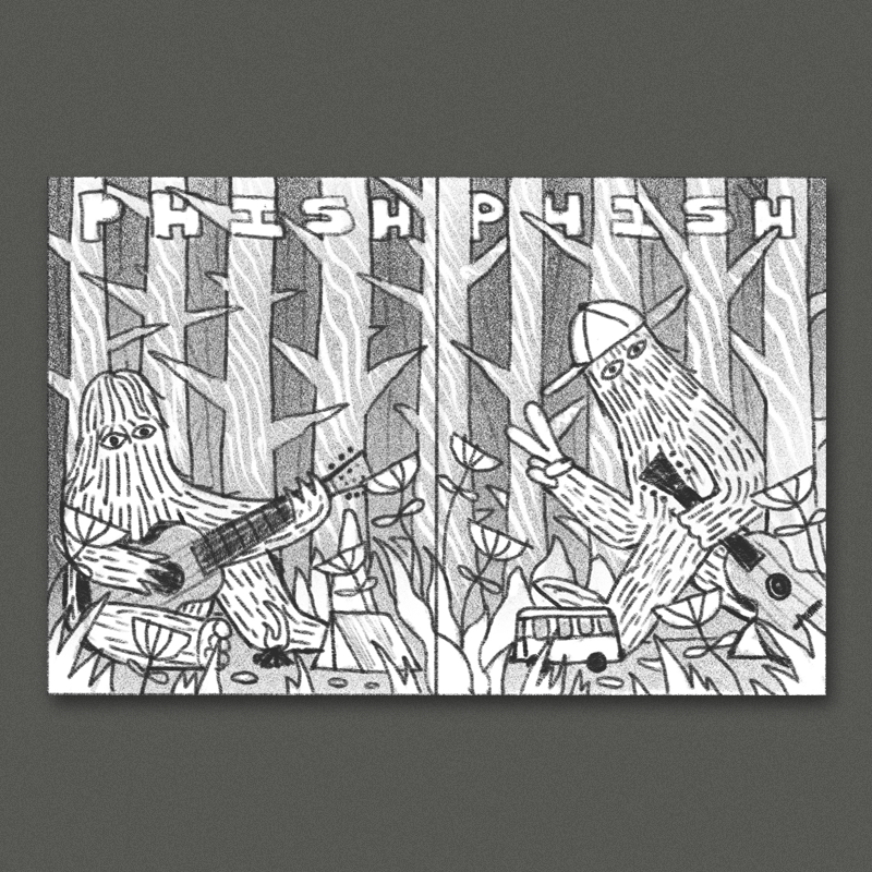 This concept is inspired by all of the woods that surround the pavilion, and the character that we drew for the ticket design. In one panel one of these giant fuzzy guys is chilling around somebodies campfire strumming a guitar, in the other panel his buddy is strolling up to join him. The figures are surrounded by the woods behind them and dense, detailed foliage with brightly colored flowers and other plants all around.I think this would look great with a more moody almost monochromatic night-time color scheme. This direction could be a great candidate for some glow in the dark highlights too if we wanna get really fancy with it.