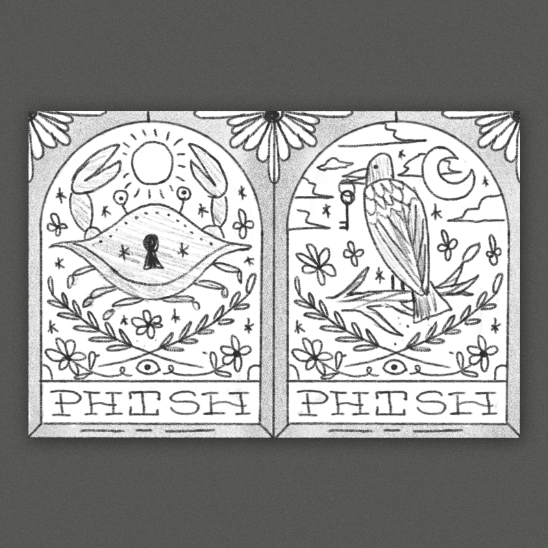 Stained-glass & occult inspired compositions (similar to the ticket art in format) - the left poster has a crab, the right has a raven - both classic maryland symbols. I think these would look awesome with lots of detail & color.  Here is another poster we've done in this style.