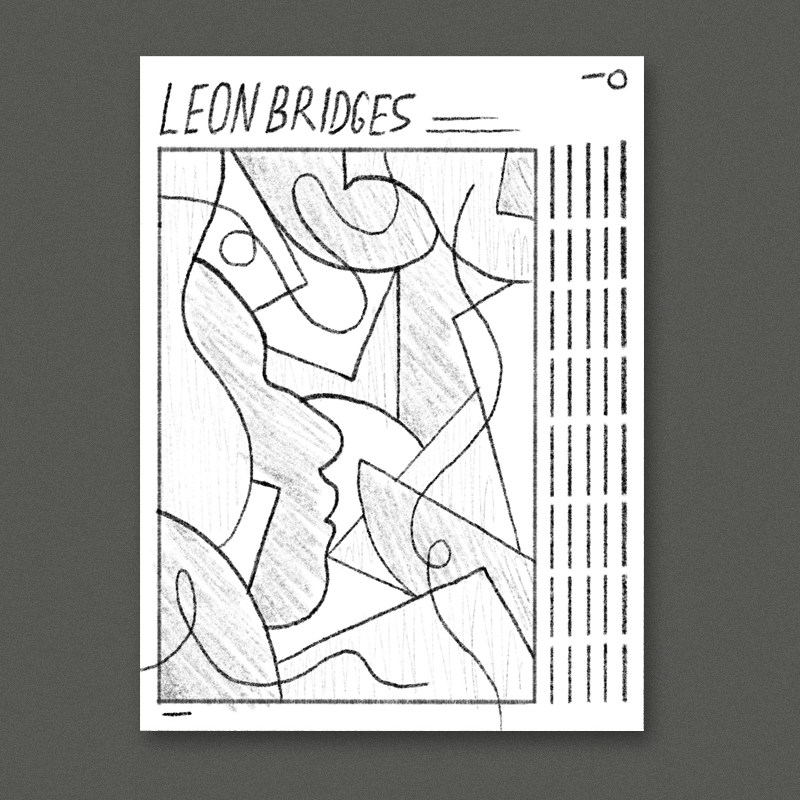 I really loved  this reference image  in the deck you sent over - I thought it could be cool to do a similar bold and bright geometric composition but work Leon's silhouette in there.Tour dates would be listed out vertically on the side with Leon's name and the tour name up top. Simple geometric stuff like this looks really great screenprinted since the ink can be made so bright and dense.