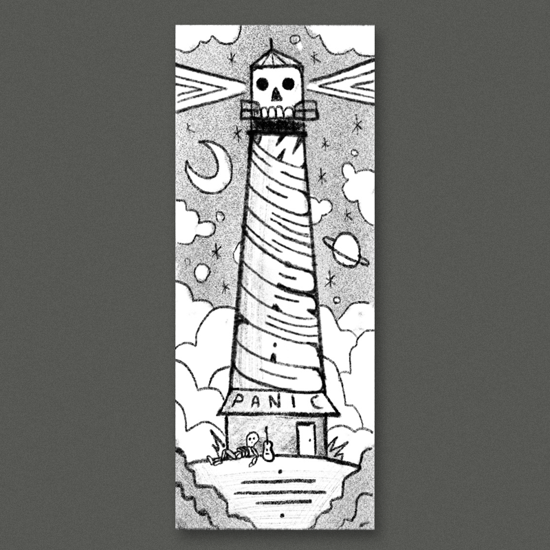 Inspired by the  St. Augustine lighthouse . The stripes on the tower would spell out 'widespread' with a lil skeleton guy and a guitar leaning up against it. The whole thing is framed by some dramatic clouds and a cosmic night sky. I think this idea could be really cool in a unique size, something like 12x36 - but we could also make this work on an 18x24 if you just want to keep it standard.