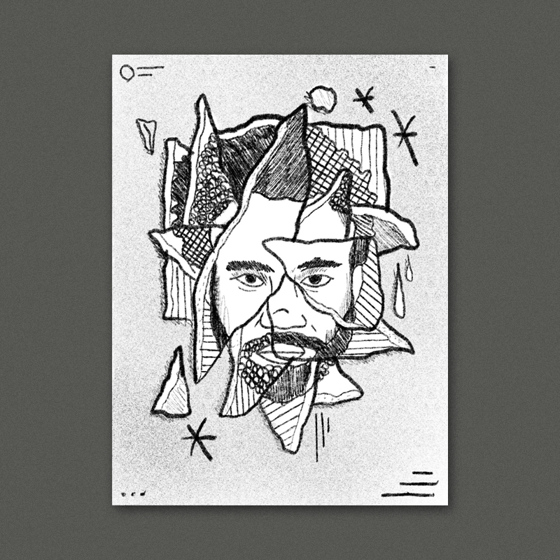 A collaged and abstracted portrait of Donald. Each piece would be a different drawing style, or found photograph or pattern - all together they create the image. We could use America related imagery to build the portrait, and a classic red white & blue color palette.