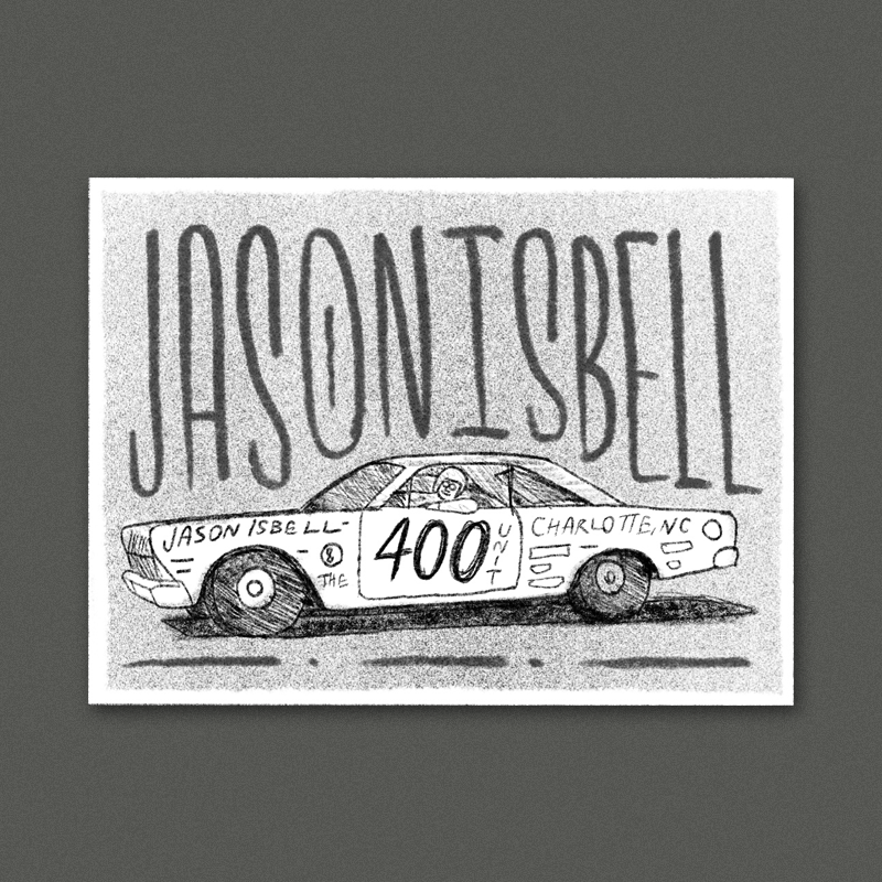 Keeping with the vintage racing theme from the shirt - A cool classic illustration of an old race car with the band name and relevant info presented as the different lettering, logos and graphics. The background would be a bold single color to make the car really stand out with some big type.
