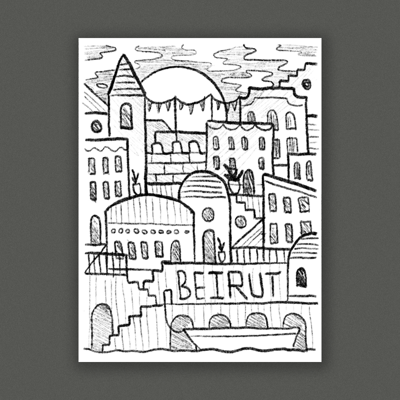A scene inspired by the architecture of Gallipoli, layered buildings and architectural elements make a really cool graphic representation of a place that inspired the record. We could work the tour dates into the different parts of the scene (windows, doors etc) so the dates would really be integrated into the illustration rather than just being a list. This direction has tons of room for fun details like little scenes in the windows, plants, architectural details, etc…