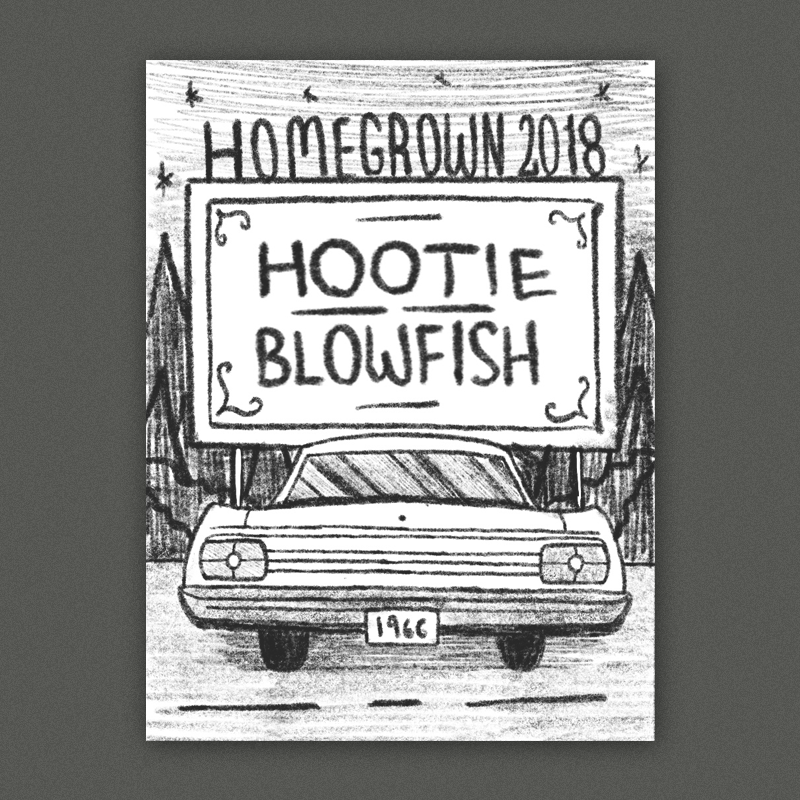 An old sketch from last year's homegrown that we could rework for the tour poster. It could be cool to put some instrument cases on top of the car to go along with the tour theme.