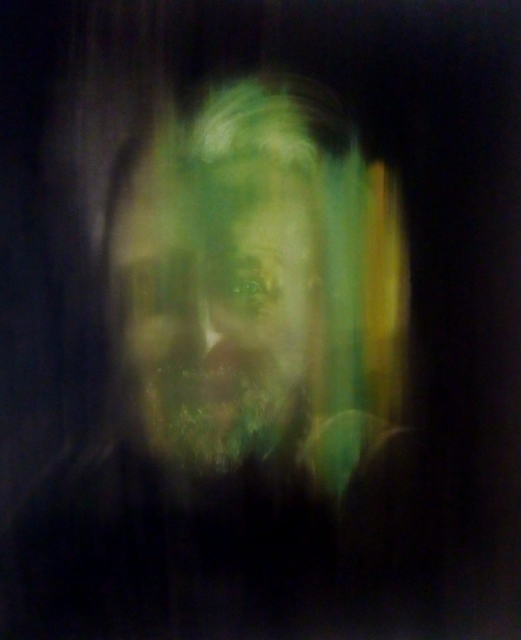 DIEGO LINARES Autorretrato. Óleo sobre lienzo. 1m x 1m  Año 2019. .JPG