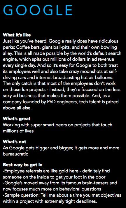 What it's like to work at Google