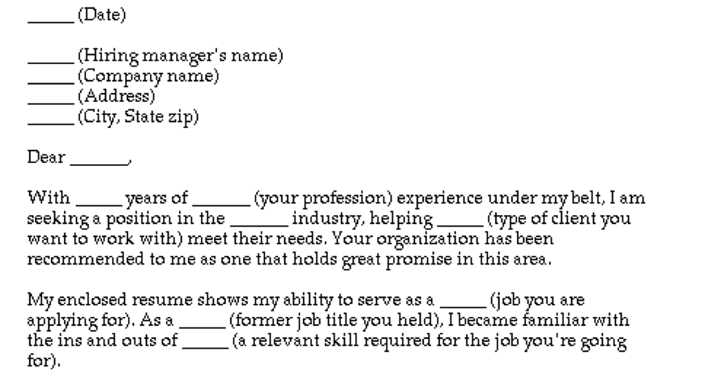 The cover letter equivalent of a tranquilizer!