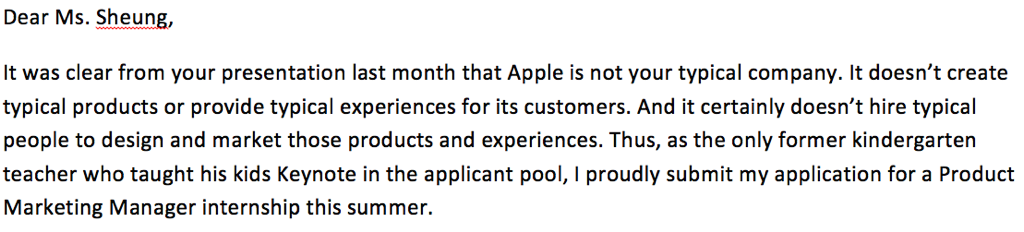 My revised cover letter to Apple