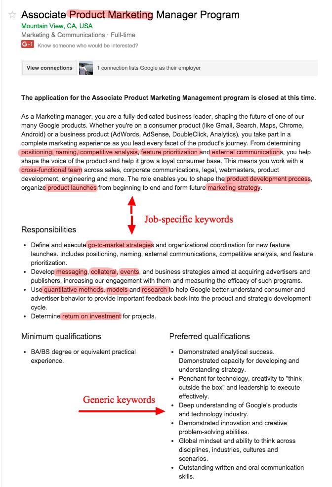 Job-specific vs. generic keywords