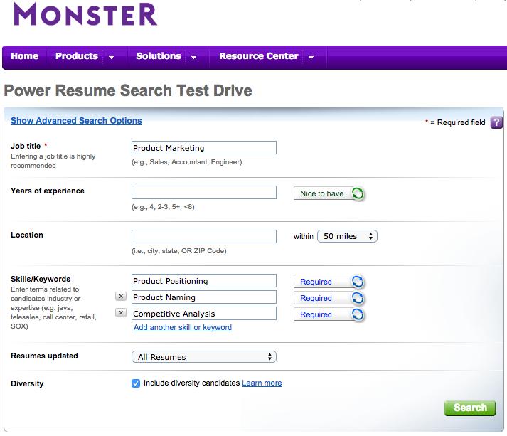 Monster's Resume Screening Software
