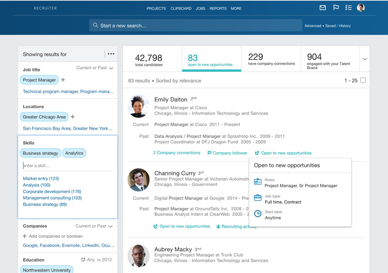 This is the $12K/year version of LinkedIn that allows recruiters to search all of the world's talent from a single screen. In other words, you want to be on this screen!