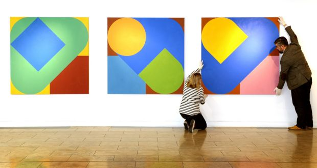 A series of paintings by Richard Gorman in the RHA Annual Exhibition in 2014. Photograph: David Sleator