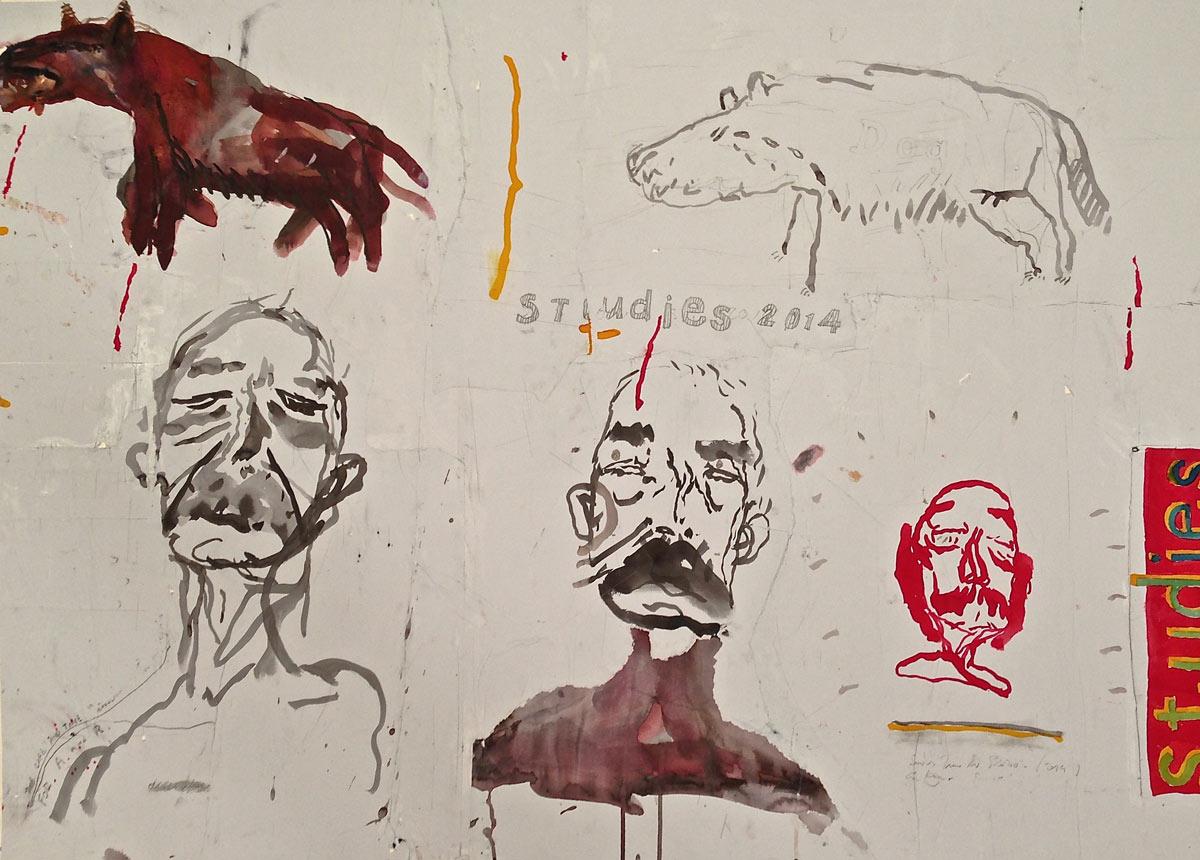 Patrick Graham: Studies , mixed media, 81 x 112cm