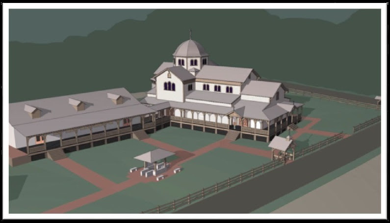 View into the courtyard: proposed new church building and parish hall in background, baptistery and shed for passenger drop-off in foreground