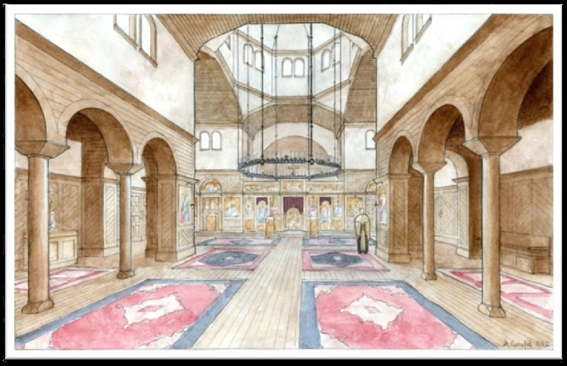 Architect's rendering of the interior of the new church building