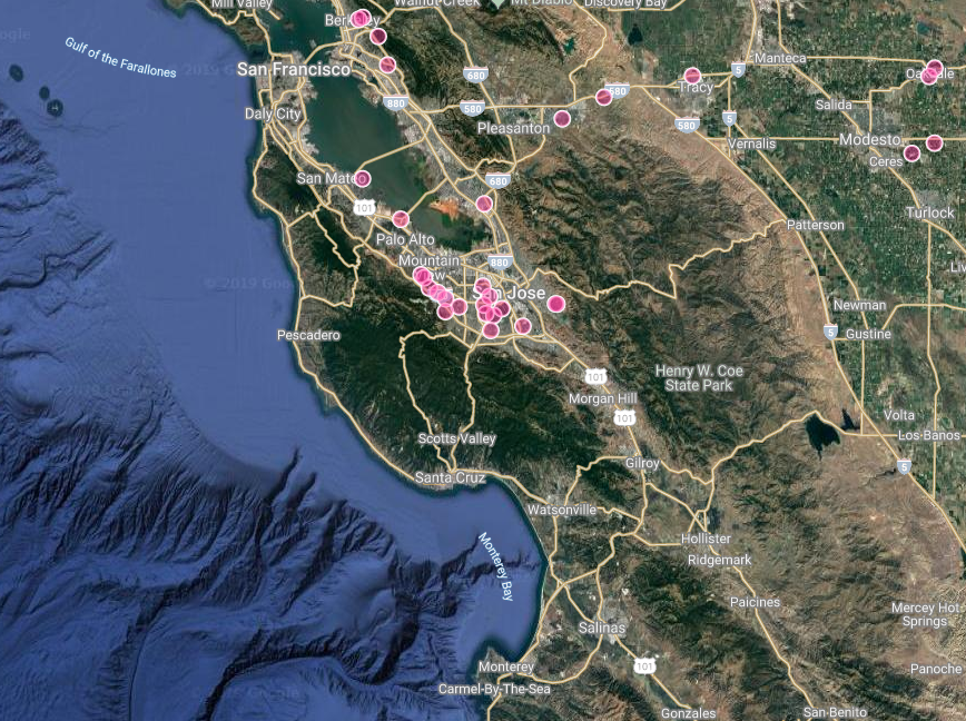 Look just how close that swarm of documented Green Gill occurrences comes to the Santa Cruz County line!