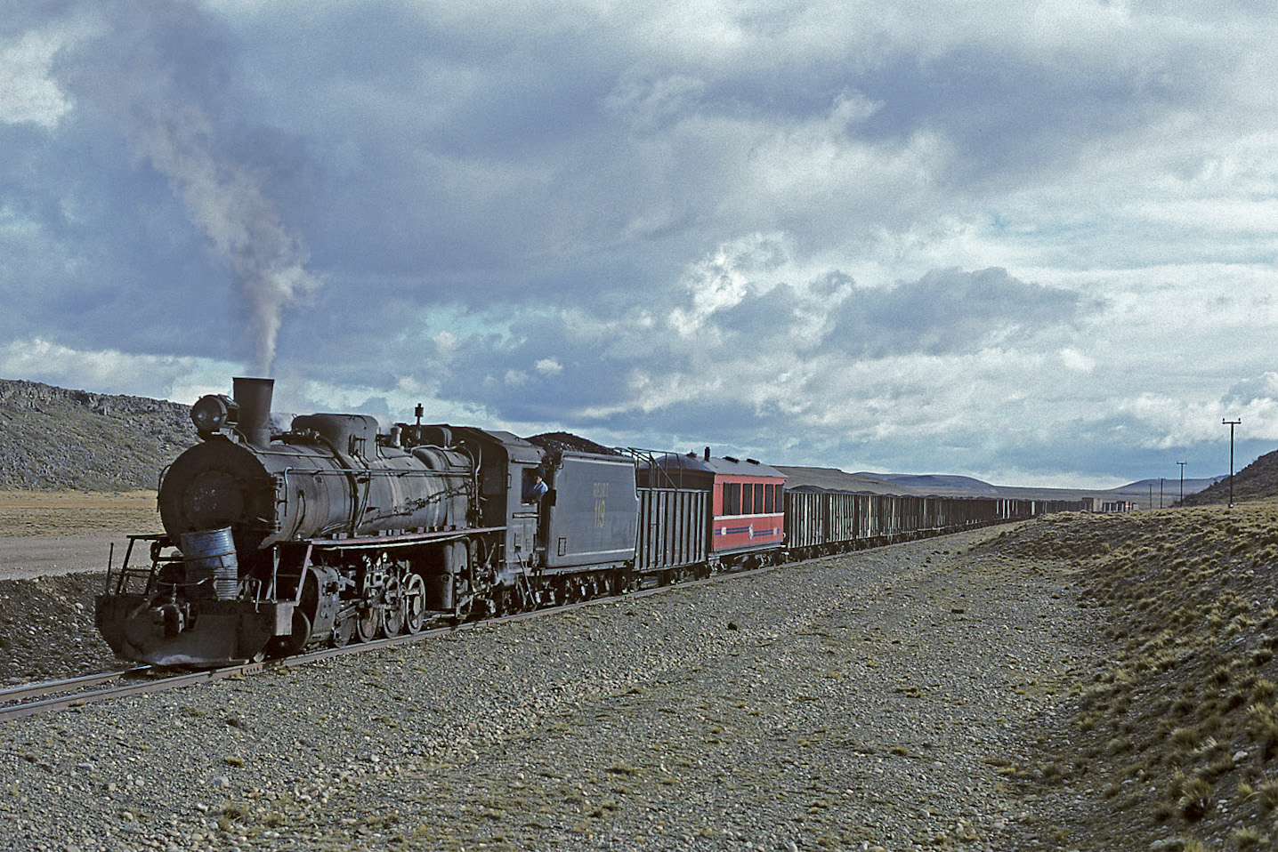 This photo by William E. Botkin shows RFIRT 119 hauling a train in 1996; it is currently one of two locomotives being rebuilt in Buenos Aires.
