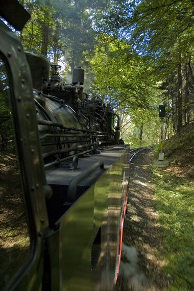 View from the cab of a 2-10-2T at the Harz as it barrels through the mountains